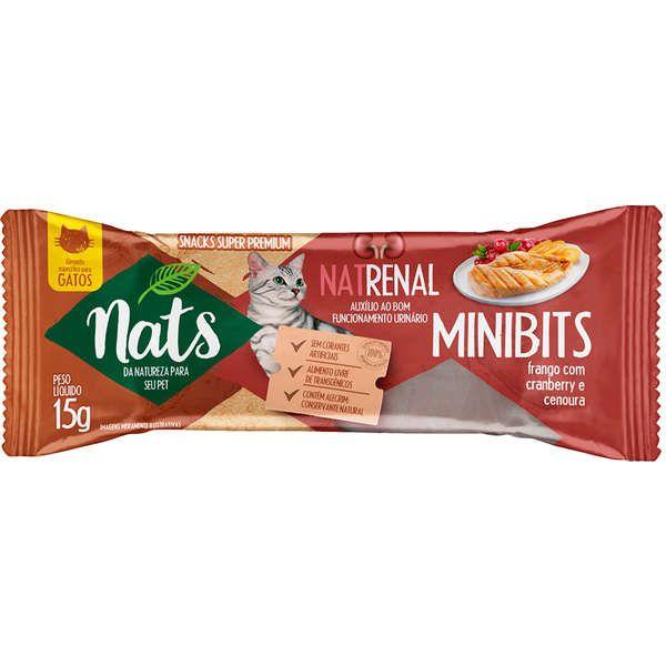 Kit com 5 Snacks Mini Bits NatRenal Frango com Cranberry e cenoura para Gatos - Bom funcionamento urinário - Nats (15g)