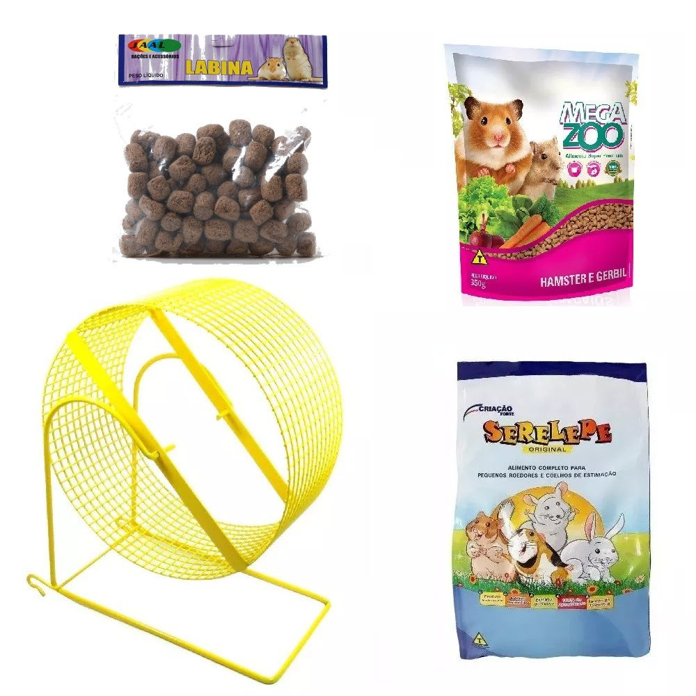 Kit para Hamster e Gerbil - Alimento Mega Zoo 350g Alimento Serelepe 750g Rodinha 20 cm Amarela e Labina Jaal 250g