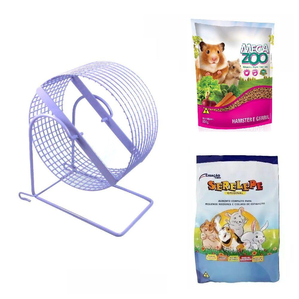 Kit para Hamster e Gerbil - Alimento Mega Zoo 350g Alimento Serelepe 750g Rodinha 20 cm Lilás