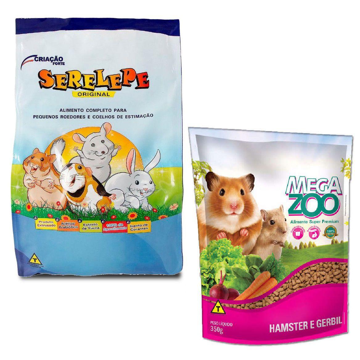 Kit Ração Super Premium Hamster E Gerbil MegaZoo + Serelepe