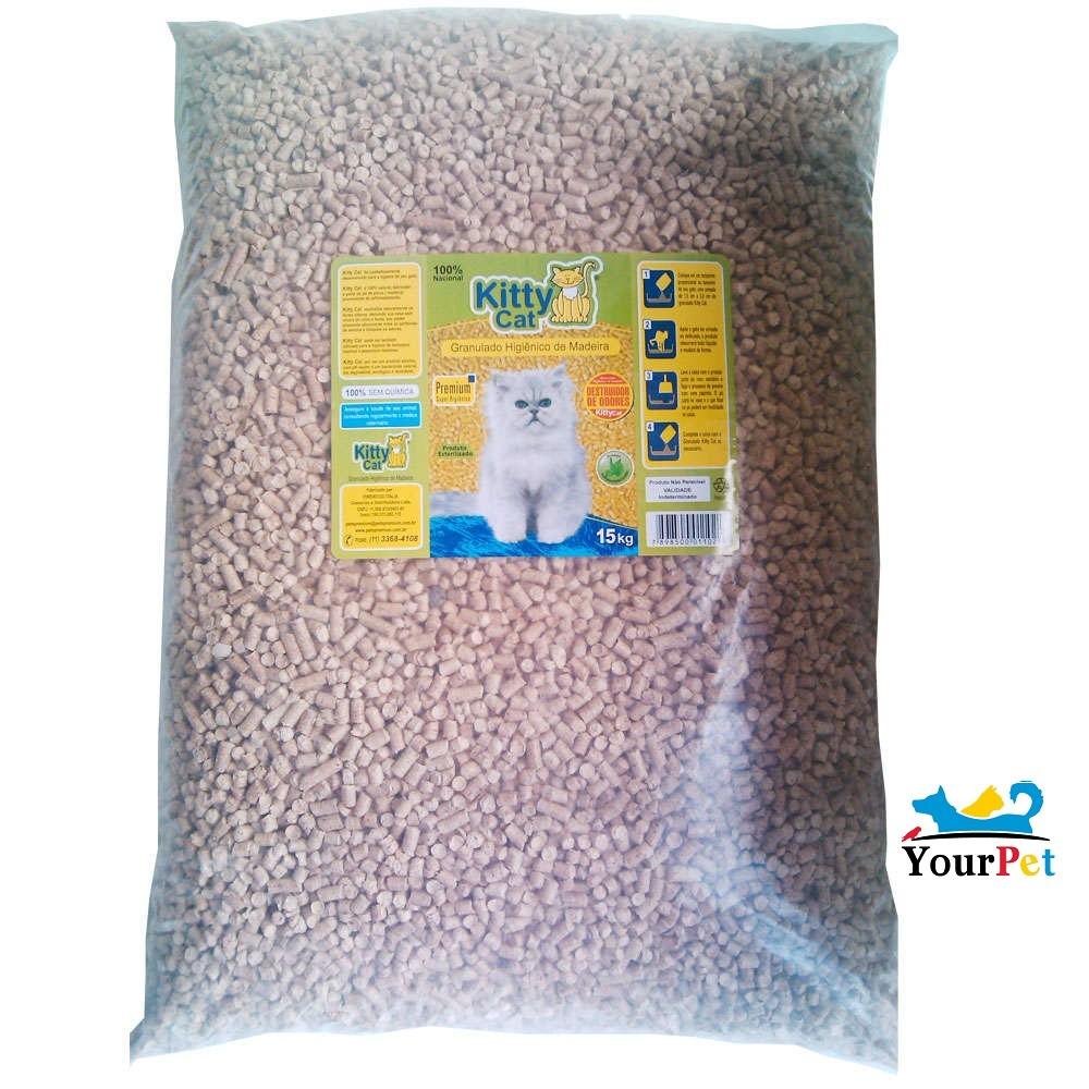 Kitty Cat Granulado Sanitário de Madeira para Gatos (15kg)