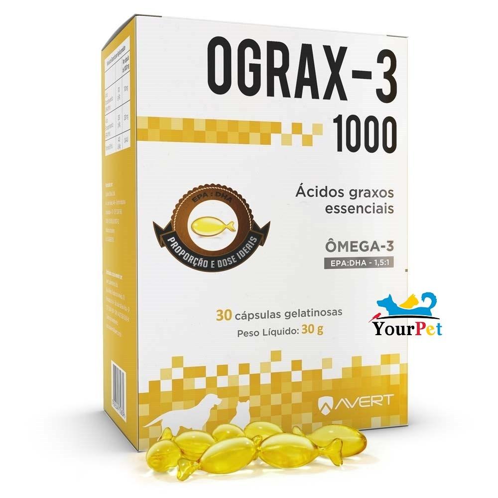 Ograx 3 1000 - Suplemento Nutricional composto por ácidos graxos essenciais para Cães e Gatos - Avert (30 cápsulas)