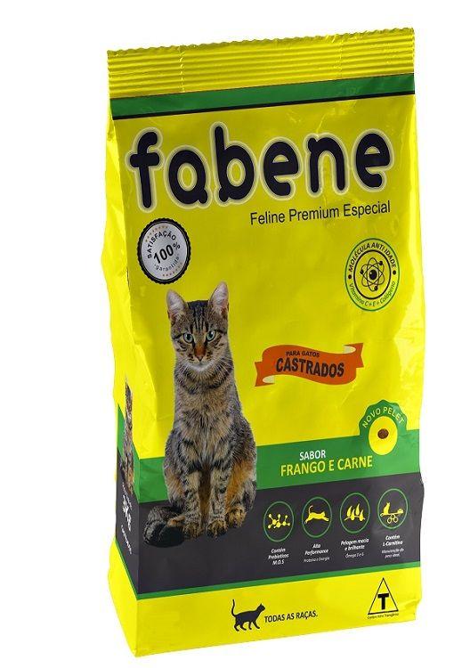 Ração Fabene Feline Frango e Carne para Gatos Castrados - Premiatta (3 kg)