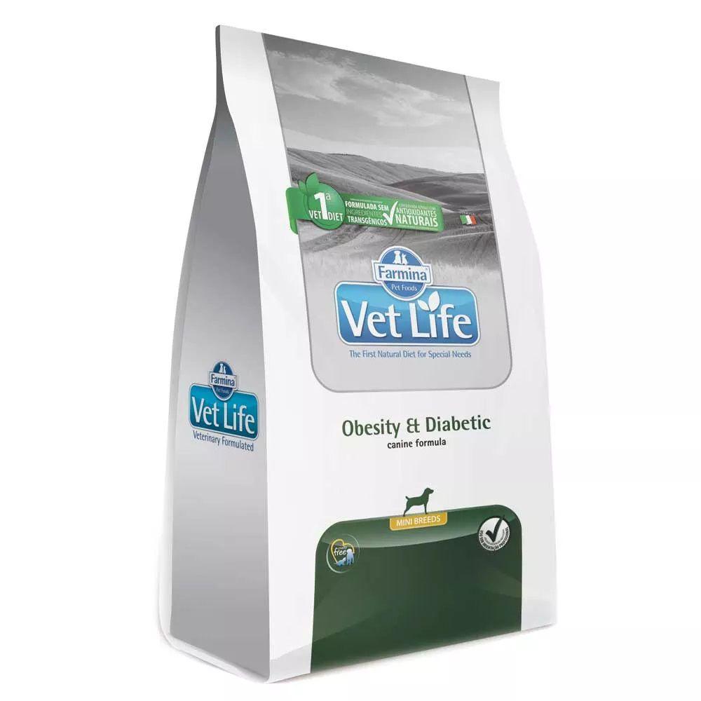 Ração Farmina Vet Life Obesity & Diabetic Mini Breeds Cães Adultos Obesos e/ou com diabetes (2 kg)