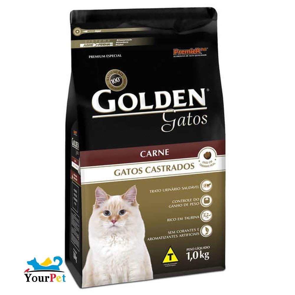 Ração Golden Castrados Carne para Gatos Adultos - PremieR (10,1 kg)