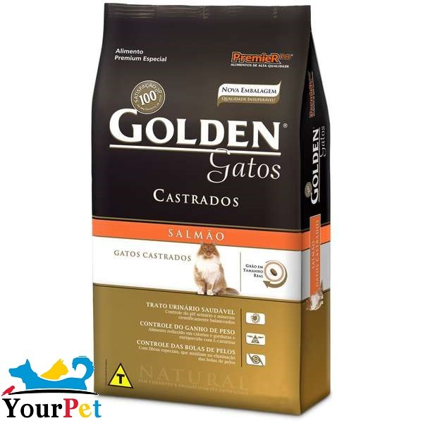 Ração Golden Castrados Salmão para Gatos Adultos - PremieR (10,1 kg)