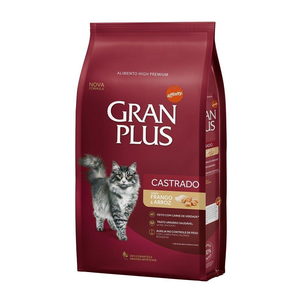 Ração Gran Plus Castrados Frango e Arroz para Gatos Adultos (10,1 kg) - Guabi