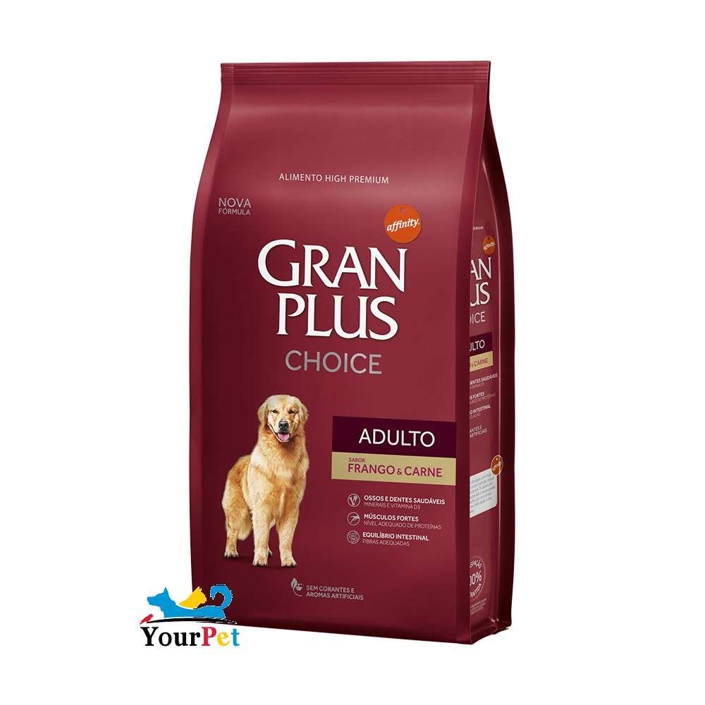 Ração Gran Plus Cães Choice Frango e Carne para Cães Adultos (15 kg) - Guabi