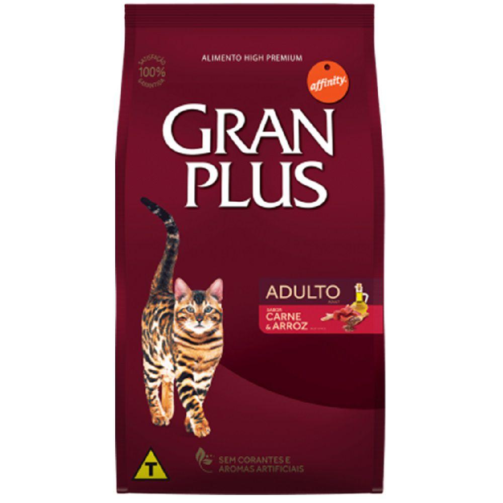 Ração Gran Plus Gatos Adultos Carne e Arroz - AffinityGuabi (10,1 kg)