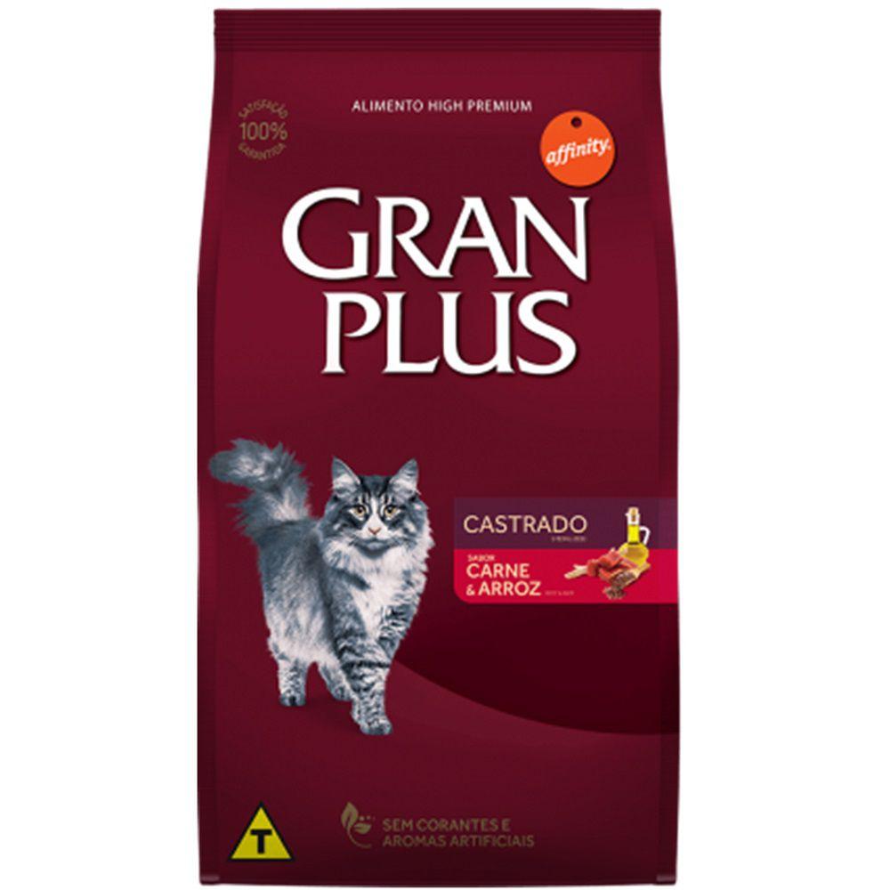 Ração Gran Plus Gatos Castrados Carne e Arroz - Affinity Guabi (3kg)