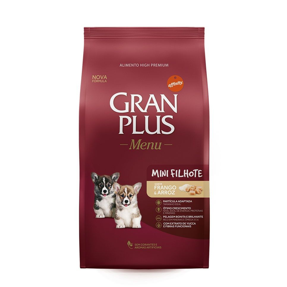 Ração Gran Plus Menu Frango e Arroz para Cães Filhotes (10 kg) - Guabi