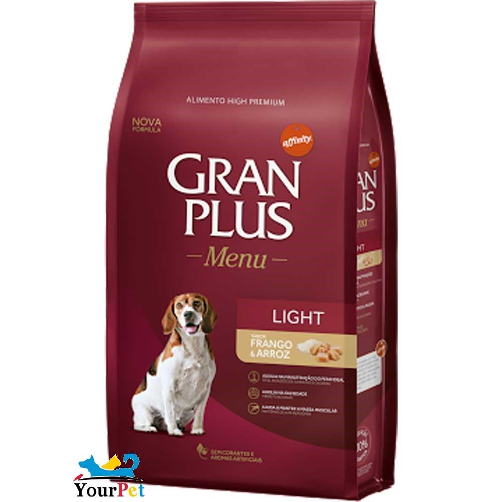 Ração Gran Plus Cães Menu Light Frango e Arroz para Cães Adultos com tendência ao Sobrepeso (15 kg) - Guabi