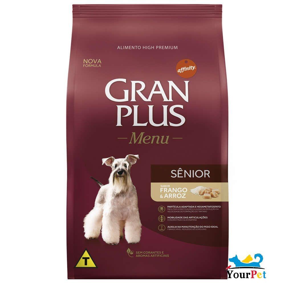 Ração Gran Plus Menu Senior Frango e Arroz para Cães Adultos com mais de 7 anos (15 kg) - Guabi