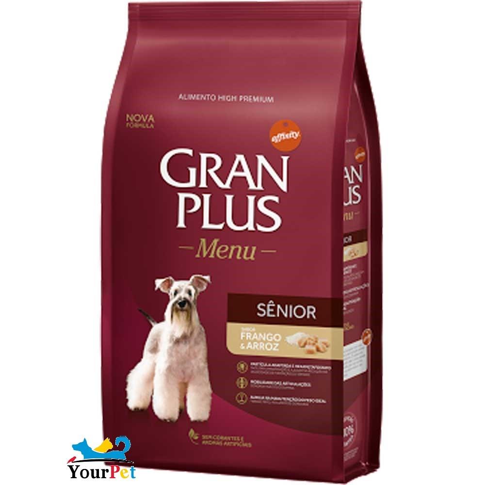 Ração Gran Plus Menu Senior Frango e Arroz para Cães com idade acima de 7 anos (3 kg) - Guabi
