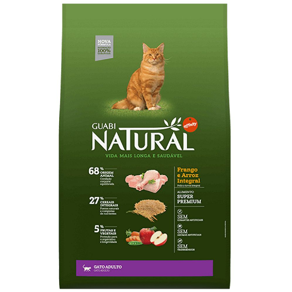 Ração Guabi Natural Gato Adulto Frango Arroz Integral 1,5 kg