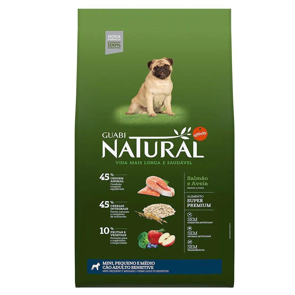 Ração Guabi Natural Sensitive Cães Adultos Miniaturas, Pequenos e Médios Salmão e Aveia (12 kg) - Affinity Guabi