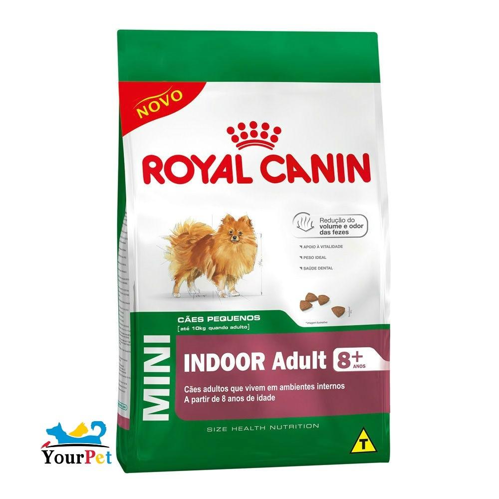 Ração Royal Canin Mini Indoor Adult 8+ para Cães de Porte Pequeno Ambientes internos com mais de 8 anos (2,5kg)