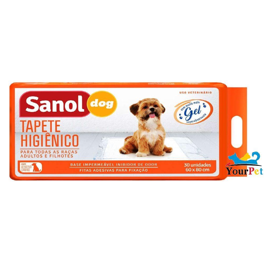 Tapete Higiênico Sanol Dog para Cães de todas as raças e idades 80 x 60 cm - Sanol (30 unidades)