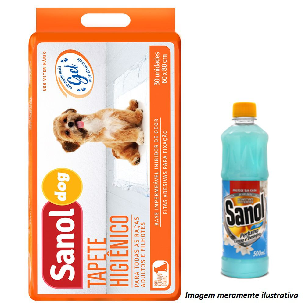 Tapete Higiênico Sanol Dog para Cães de todas as raças e idades 80 x 60 cm - Sanol (30 unidades) + Brinde