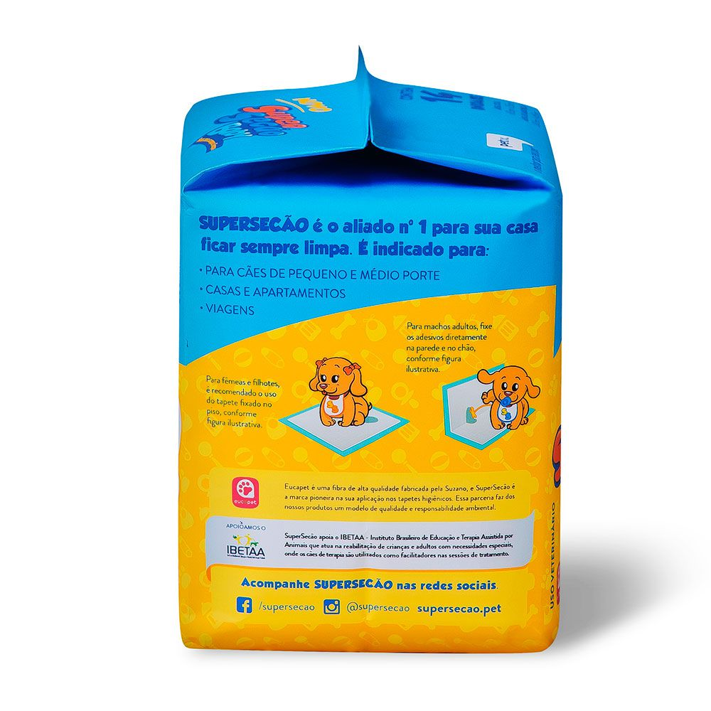 Tapete Higiênico Super Secão Baby com cheirinho de Talco para Cães 60 x 55 cm - Petix (14 unidades)