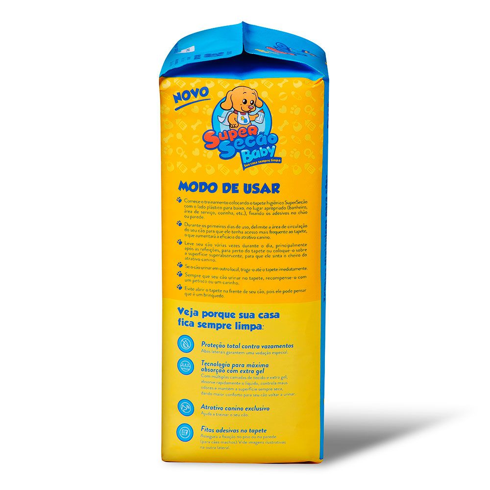 Tapete Higiênico Super Secão Baby com cheirinho de Talco para Cães 60 x 55 cm - Petix (30 unidades)
