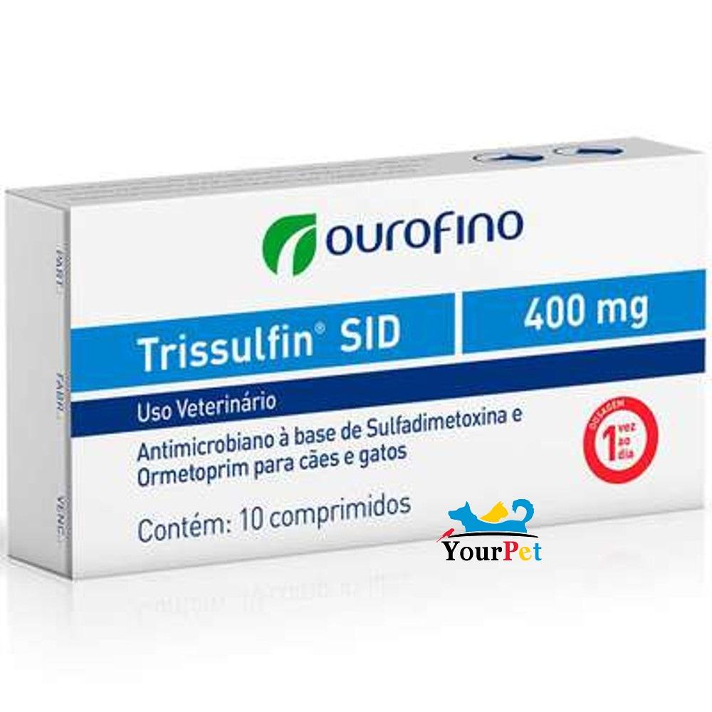 Trissulfin SID 400mg OuroFino - Antimicrobiano à base de Sulfadimetoxina e Ormetoprim para Cães e Gatos (10 comprimidos)