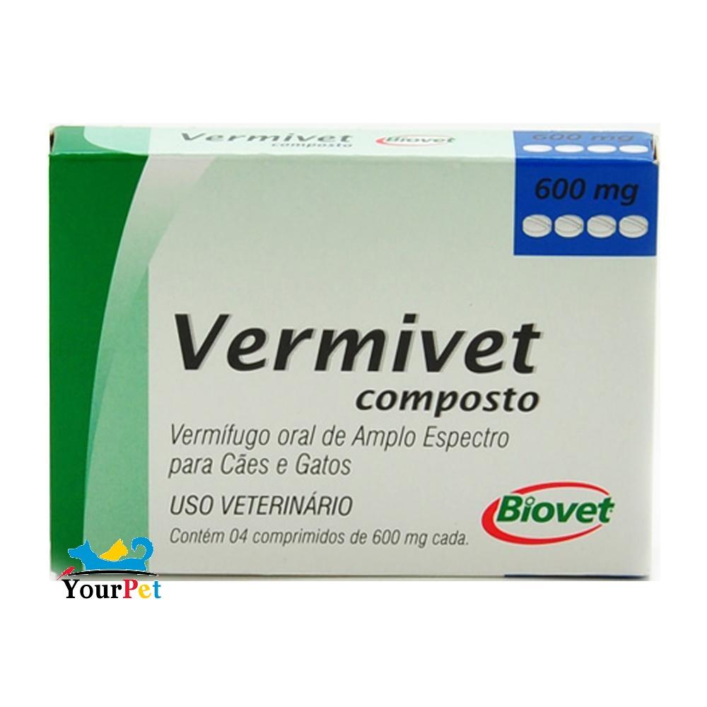 Vermivet Composto - Vermífugo Oral de Amplo Espectro para Cães e Gatos - Biovet (4 comprimidos de 600 mg cada)