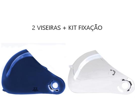 Kit Viseiras + Fixação para Capacetes Peels F21 - Cristal + Azul