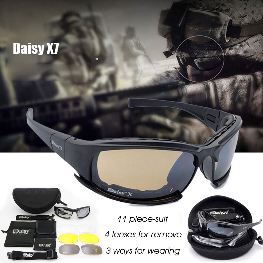 Óculos Tático militar Daisy X7 - 4 Lentes - 1 polarizada