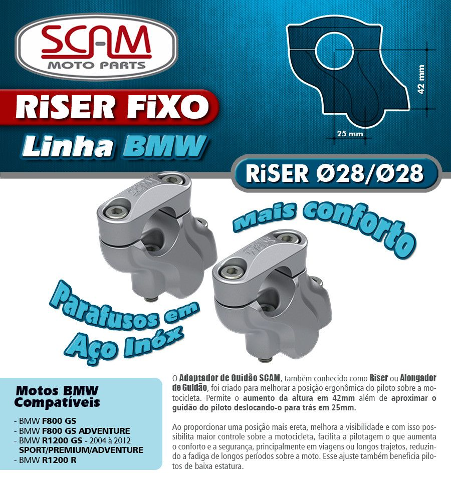 Riser / Alongador de Guidão BMW R1200 GS  - Anos 2004 até 2012