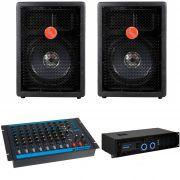 Kit Caixa Acústica Leacs Fit160 160w + Mesa Omx8 + Amplificador Op1700