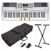 KIT TECLADO ARRANJADOR WALDMAN KEYPRO61 + ESTANTE ASK + CAPA