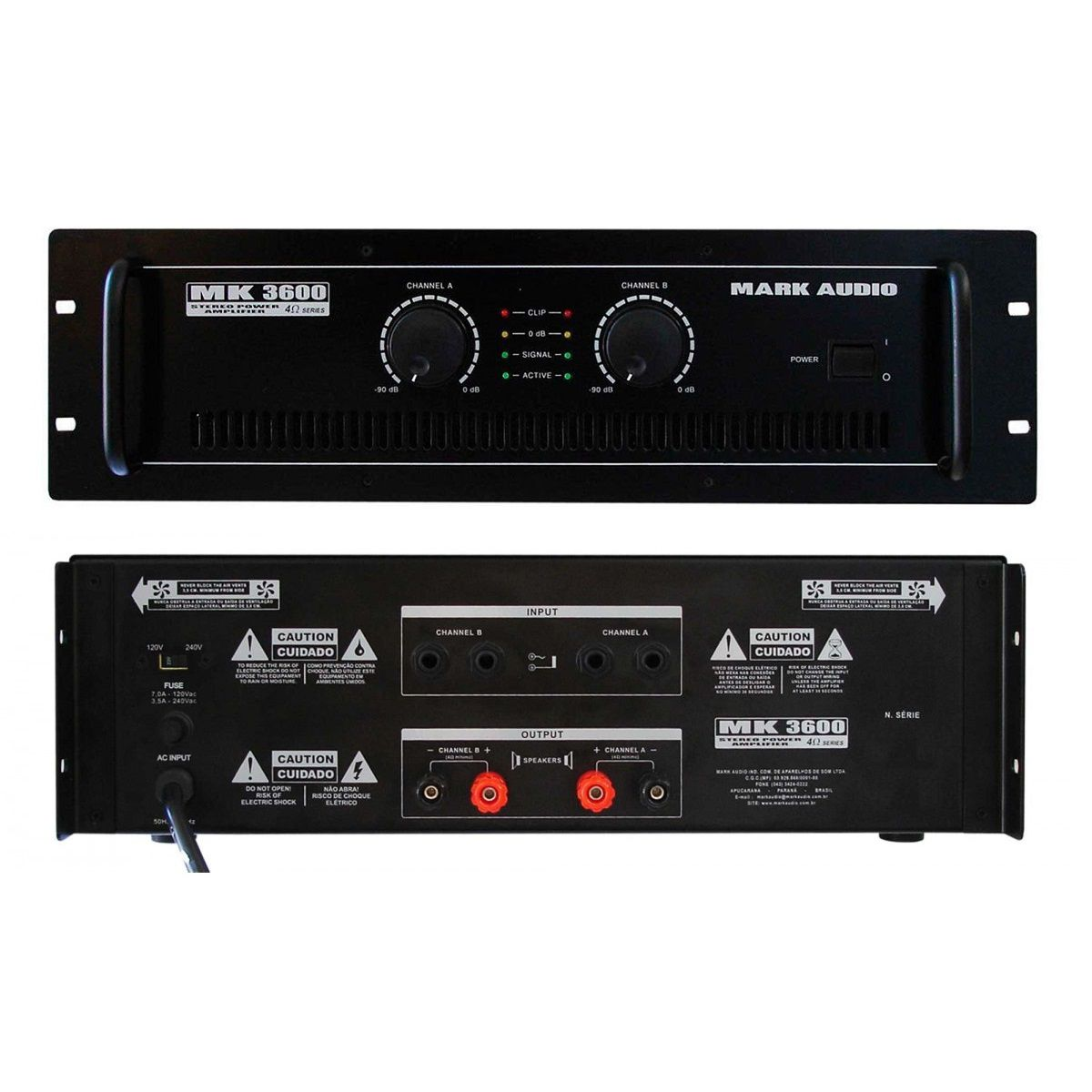Amplificador Mark Audio Mk3600/B 600W - Cod. Prod.7982