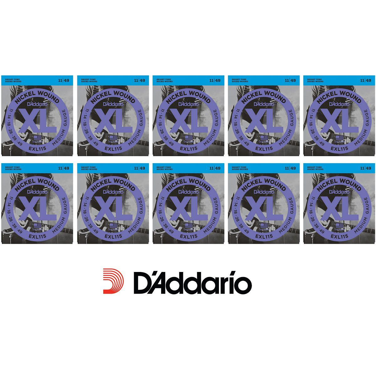 CAIXA 10 ENCORDOAMENTOS DADDARIO GUITARRA EXL115B 0.11 ORIGINAL MADE IN USA