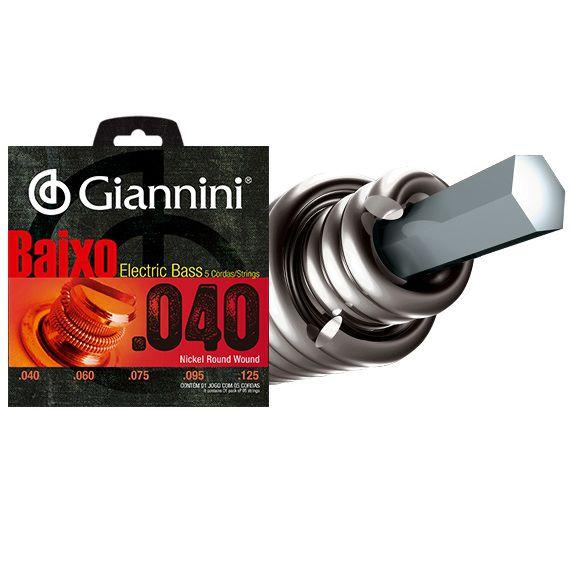 ENCORDOAMENTO GIANNINI BAIXO GEEBRL/5 LEVE NIQUEL 0.040