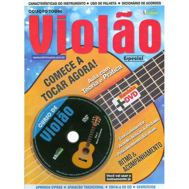 KIT VIOLÃO ESTUDO GIANNINI N-14 + CAPA + AFINADOR + METODO DVD
