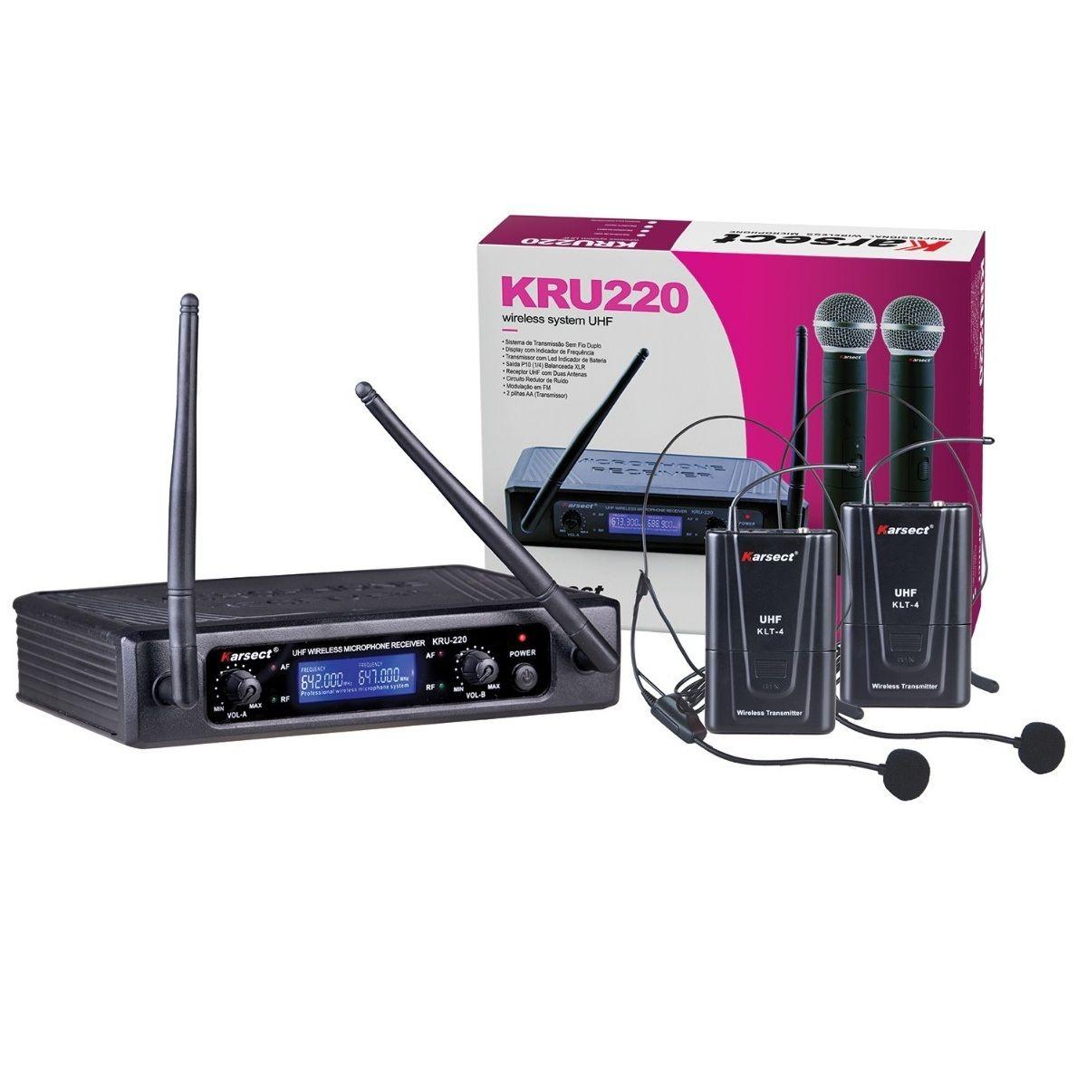 MICROFONE KARSECT SEM FIO KRU220 UHF DUPLO HEADSET