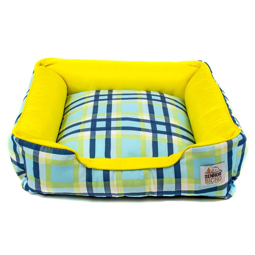 Cama Pet para Cachorro e Gato Quadrada Composê (M) - Xadrez Azul Amarelo