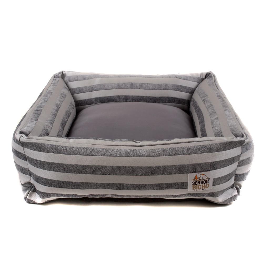 Cama Pet para Cachorro e Gato Quadrada Hanna Premium (M) - Jacquard Prata