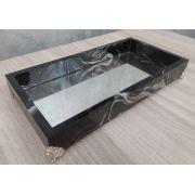 Bandeja Decorativa espelhada, Preto marmorizada - 27x14x4cm