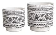Conjunto 2 Cachepots Brancos em cerâmica 10553 Mart