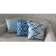 Conjunto 3 Capas almofadas Lyon Veludo Cinza e Azul  43x43cm