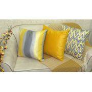 Conjunto 3 Capas almofadas Lyon Veludo estampadas Amarelo e Cinza 50x50cm