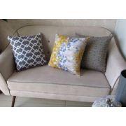 Conjunto 3 Capas almofadas Lyon Veludo quadradas Amarelo e  Cinza  43 x 43 cm