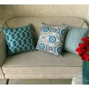 Conjunto 3 Capas almofadas Lyon Veludo quadradas Azul Pavão  43 x 43 cm