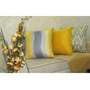 Conjunto 3 Capas almofadas Lyon Veludo quadradas estampadas Amarelo e Cinza 43 x 43 cm