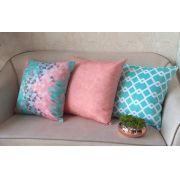Conjunto 3 Capas almofadas Lyon Veludo quadradas estampadas Rosa e Turquesa 43 x 43 cm