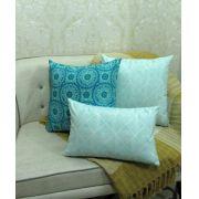 Conjunto 3 Capas almofadas Lyon Veludo quadradas / Retangular turquesa  43 x 43 cm e 30 x 50 cm
