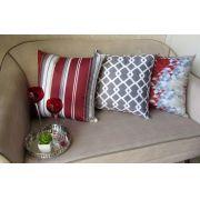 Conjunto 3 Capas almofadas Lyon Veludo Vermelho com cinza 43x43cm