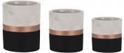 Conjunto 3 Vasos pretos e cobre em cimento Mart